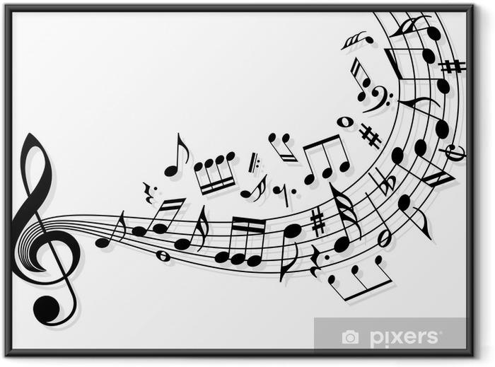 Póster Enmarcado Notas de la música -