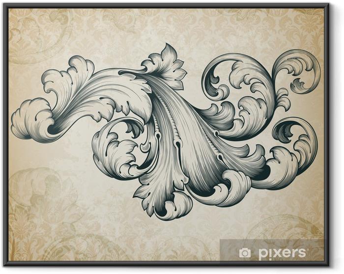 Plakat w ramie Wektor archiwalne barokowy kwiatowy wzór przewijania - Tematy