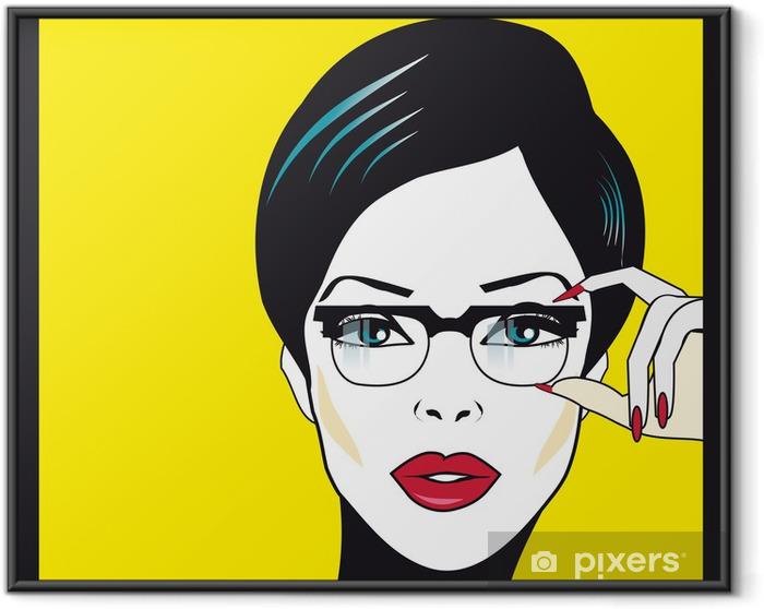 Póster Enmarcado Gafas Gafas mujer retrato de detalle. La mujer llevaba gafas de ho - Destinos
