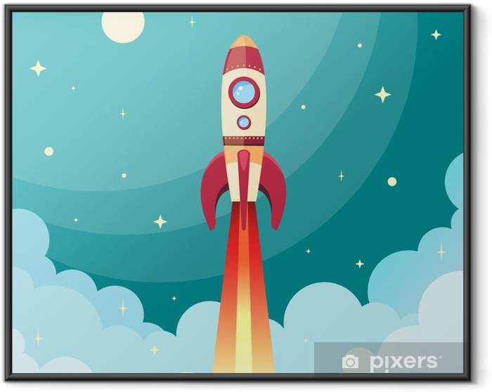 Space rocket print Framed Poster - Themes