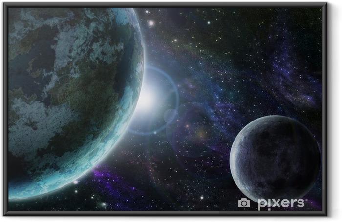 Póster Enmarcado Tierra planeta azul en el espacio exterior - Universo