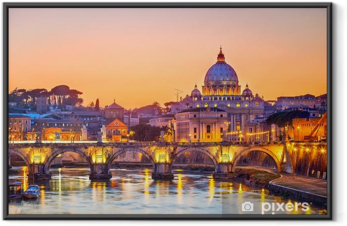 Ingelijste Poster De kathedraal St. Peter 's nachts, Rome -