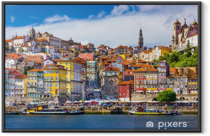 Ingelijste Poster Porto, Portugal Oude Skyline Stad aan de rivier de Douro - iStaging