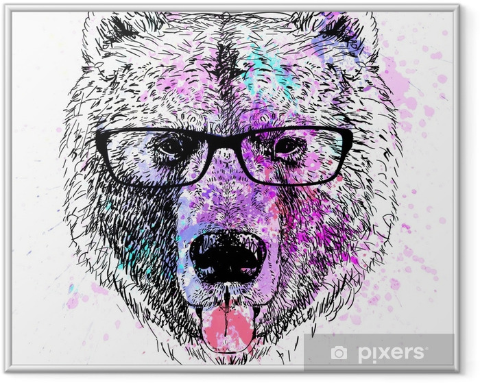 bear character colorful portrait Framed Poster - Lifestyle