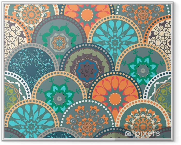 Seamless abstract pattern frame of trendy colored floral flower tile circles. For wallpaper, surface textures, textile. Summer-Autumn Design. India, Islam ethnic style. Green, orange, blue. vector Framed Poster - Graphic Resources