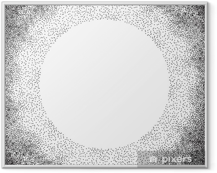 Halftone circle with place for your design, polka dot background. Vector illustration Framed Poster - Graphic Resources