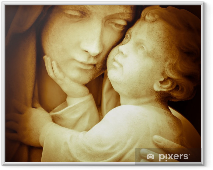 Vintage image of the virgin Mary carrying baby Jesus Framed Picture - Themes