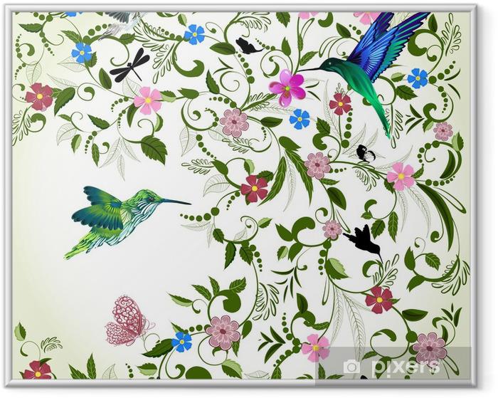 Plakat w ramie Kwiatów tle z ptakiem - Tematy