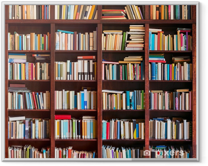 Bookshelf full with books Framed Poster - Library