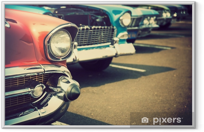 Classic cars in a row Framed Poster - Transport