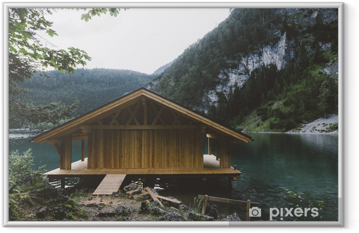Wood house on lake with mountains and trees Framed Picture - Relaxation