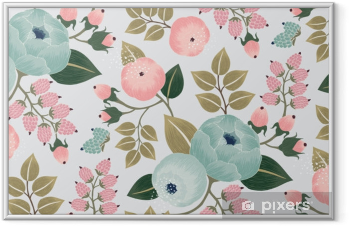 Vector illustration of a seamless floral pattern with spring flowers. Lovely floral background in sweet colors Framed Poster - Graphic Resources