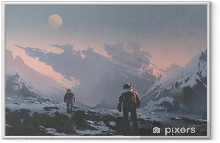 sci-fi concept of astronauts walking to derelict spaceship on alien planet, illustration painting Framed Poster - Hobbies and Leisure