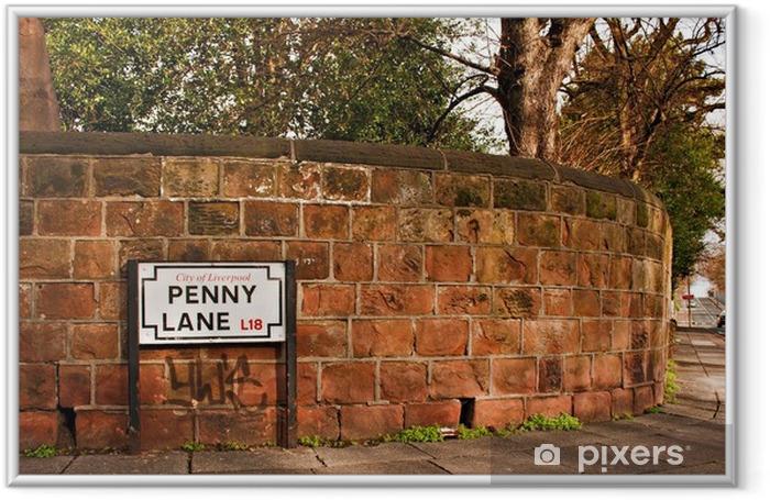 Plakat w ramie Penny Lane ulicy znak rozsławione przez piosenki Beatlesów - Wakacje