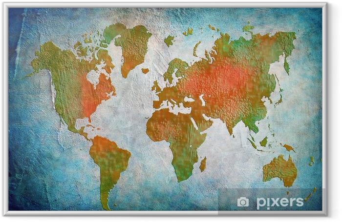 Póster Enmarcado Mapa del mundo Vintage con fondo azul - Para restaurante