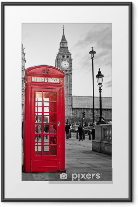 Red phone booth in London with the Big Ben in black and white Framed Poster -