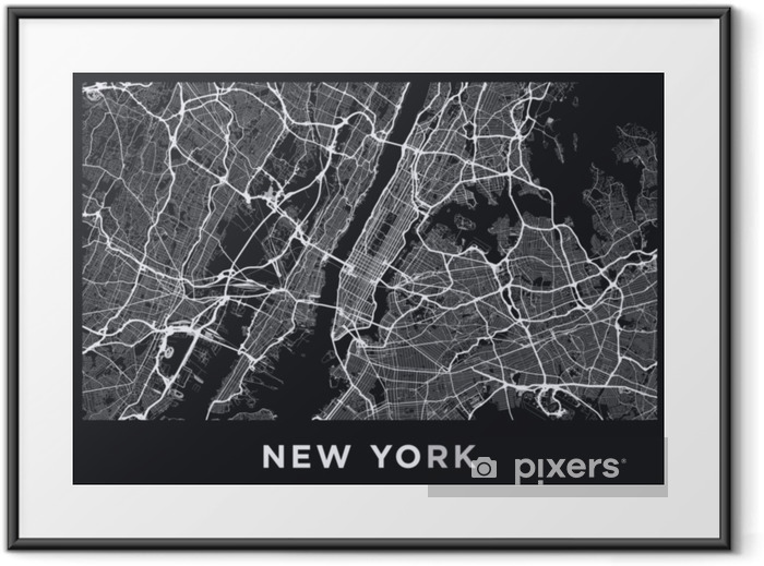 Dark New York City map. Road map of New York (United States). Black and white (dark) illustration of new york streets. Transport network of the Big Apple. Printable poster format (album). Framed Poster - Transport