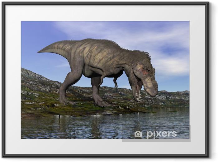 Tyrannosaurus rex dinosaur - 3D render Framed Poster - Themes