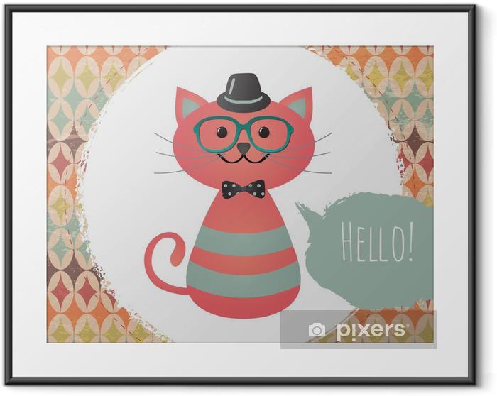 Vector Hipster Cat greeting card design illustration Framed Poster - Styles