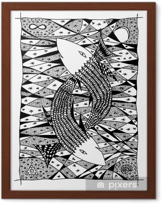 Innrammet bilde Fisk i sjøen. Grafisk tegning - Fantasidyr