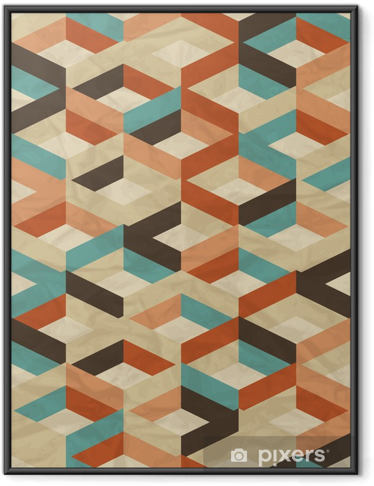 Seamless retro geometric pattern. Framed Picture - Styles