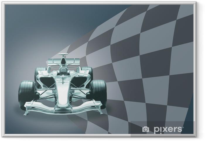 Póster Enmarcado Fórmula 1 coche y la bandera - Temas