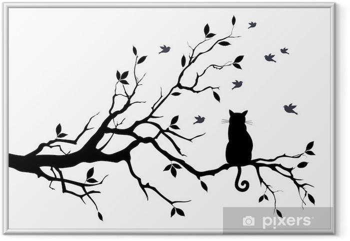 Plakat w ramie Kot na drzewie z ptakami, wektor - Nauka i natura