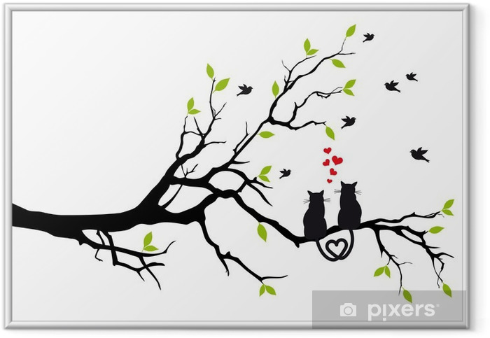 Poster en cadre Chats dans l'amour sur une branche d'arbre, vecteur - Destin