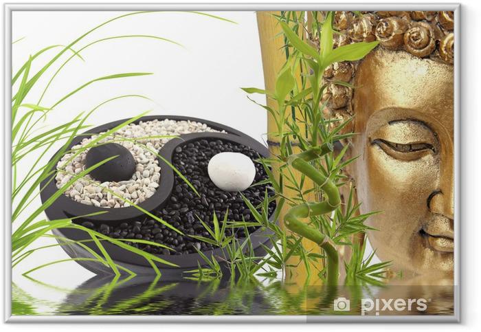 Plakat w ramie Skład Zen, Budda, bambus, yin yang - Tematy