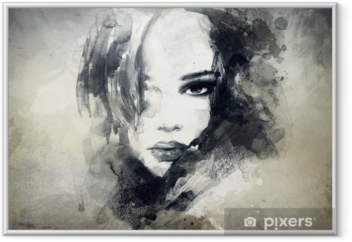 Ingelijste Poster Abstract vrouwenportret -