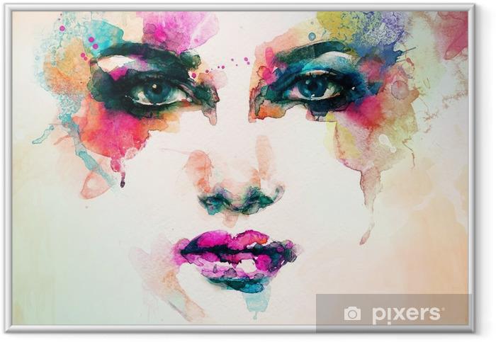 Plakát v rámu Portrét ženy .abstract akvarel .fashion pozadí - Lidé