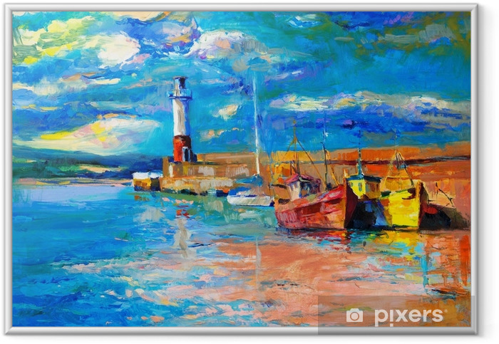 Lighthouse and boats Framed Poster - Hobbies and Leisure