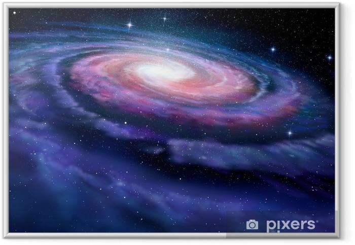 Spiral galakse, illustration af Milky Way Indrammet plakat -