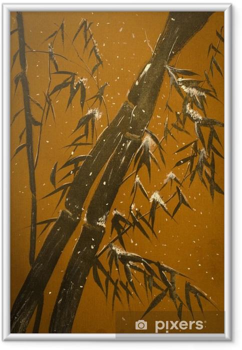 Ingelijste Poster Bamboe en sneeuw - Bloemen en Planten