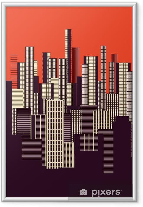 Plakat w ramie Trzy kolory graficzny plakatu streszczenie miejskiego krajobrazu w kolorze pomarańczowym i brązowym - Krajobrazy