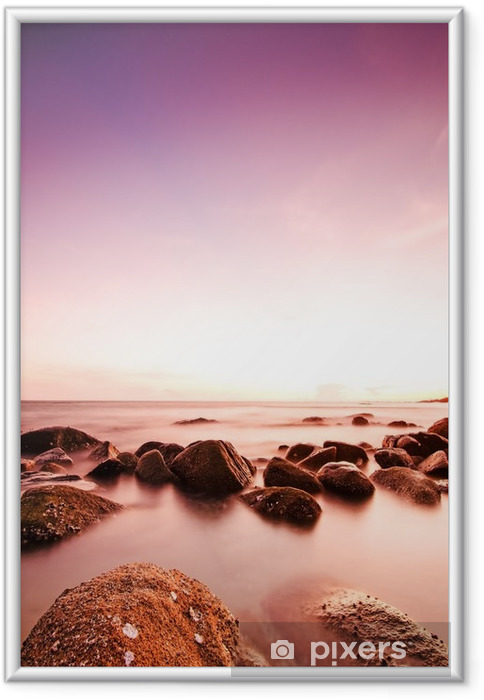 Gerahmtes Poster Dramatischen Sonnenuntergang - Landschaften