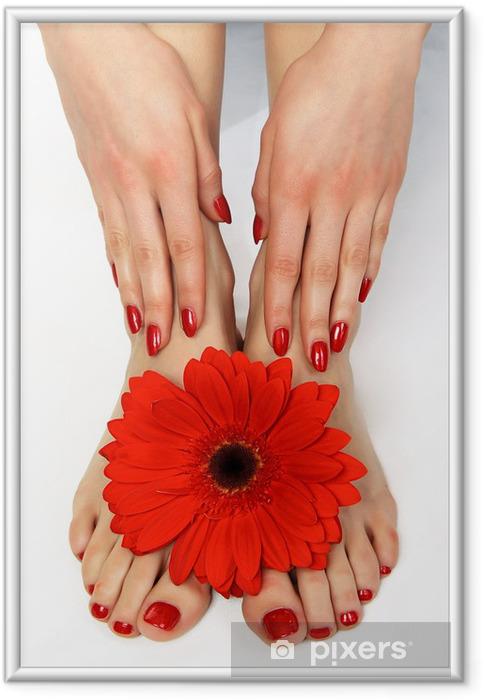 Póster Enmarcado Red manicure y pedicure con delicado herbera - Belleza y cuidado personal