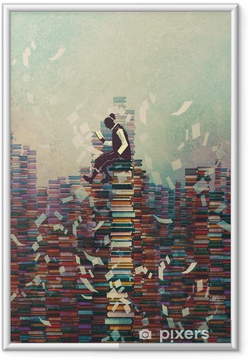 Plakat w ramie Mężczyzna czyta książkę siedząc na stos książek, koncepcja wiedzy, ilustracja malarstwo - Hobby i rozrywka