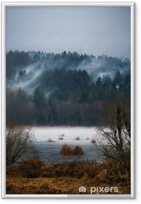 Çerçeveli Poster Vancouver Island Sonbahar Fogs / Mists - Manzaralar