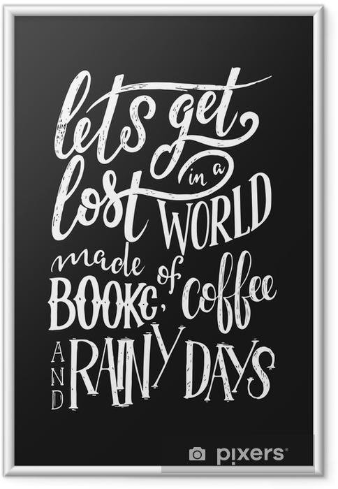 Gerahmtes Poster Hand Schriftzug Zitat mit Skizzen für Coffee-Shop oder Café. Hand gezeichnete Weinlesetypographiesammlung lokalisiert auf schwarzem Hintergrund - Grafische Elemente