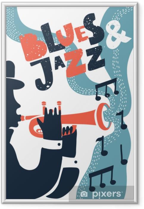 Plakat w ramie Muzyka jazzowa, szablon tło wektor plakat. ilustracja mężczyzny grającego na trąbce. - Hobby i rozrywka