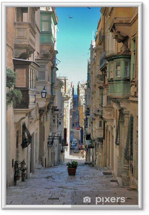 Plakat w ramie Długo widok ulicy maltański - Tematy