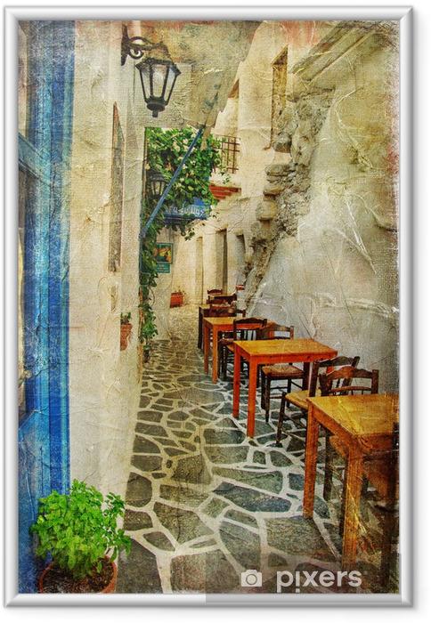 Plakat w ramie Tradycyjnych greckich tawern. artystyczny obraz - Tematy