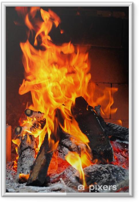 Plakat w ramie Ogień w kominku - Tekstury
