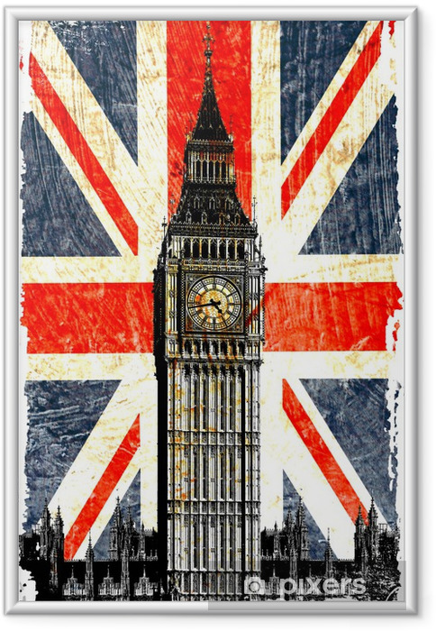 Plakat w ramie English flag Big Ben w pionie -