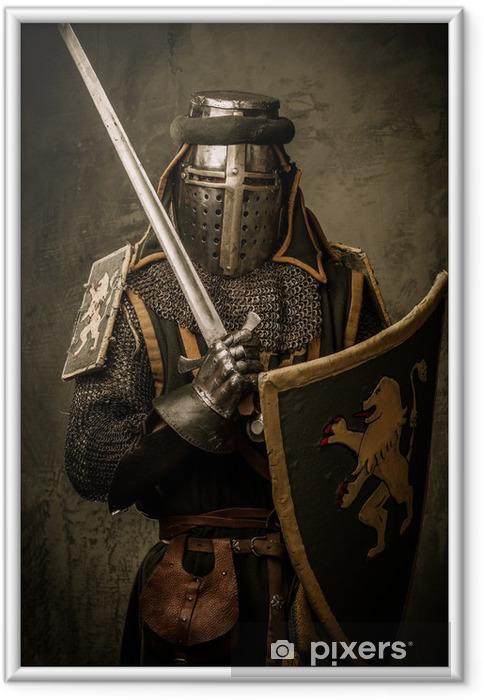 Poster i Ram Medeltida riddare med ett svärd - Riddare