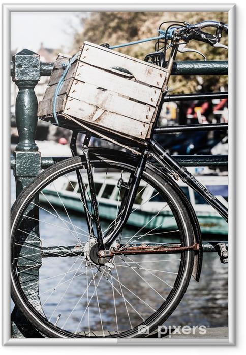 Çerçeveli Poster Amsterdam, Kanal ve bisiklet. Holland. - Bisikletler