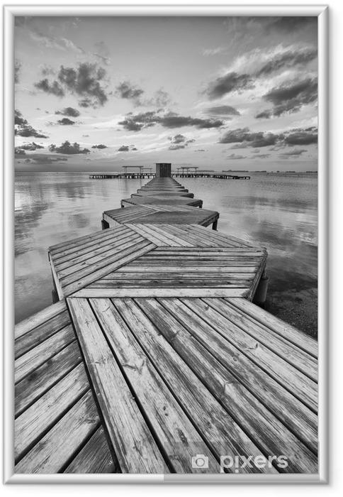 Plakat w ramie Zig Zag dock w czerni i bieli - Style