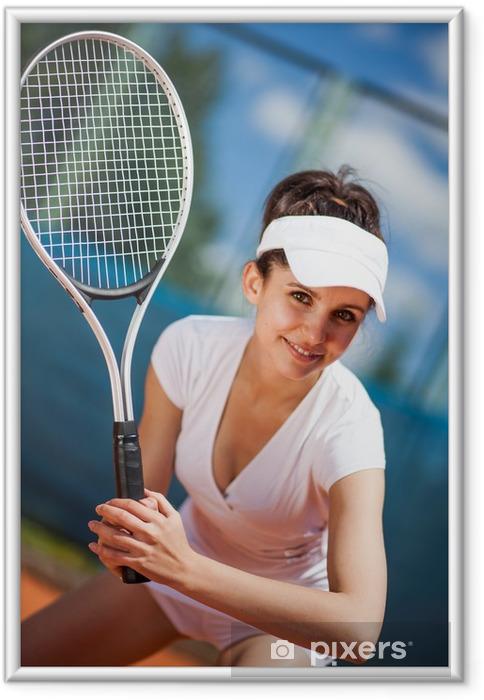 Ingelijste Poster Vrouw spelen tennis - Thema's