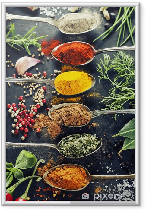 Plakát v rámu Byliny a koření výběr - Bylinky